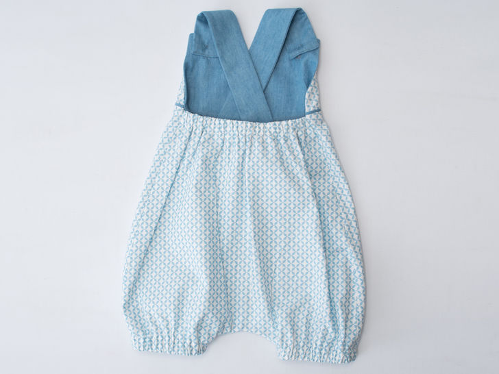 PHIL Baby Dungaree with straps, piping and elastic
