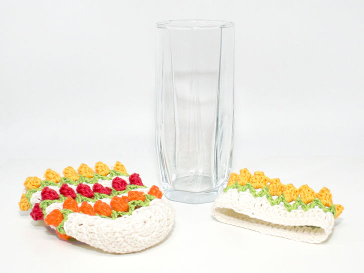 Tulip Glass-Cover - Decoration, Upcycling - Crochet Pattern