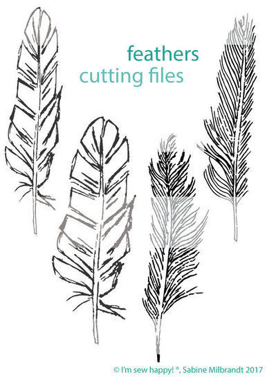Cutting file handdrawn feathers commercial use