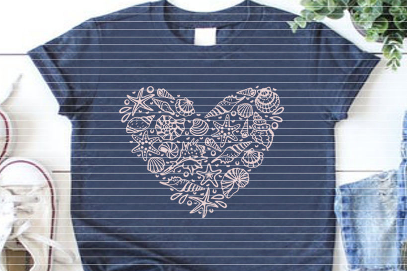"""Cutting file """"Conch heart"""" for Ironing-picture SVG DXF"""