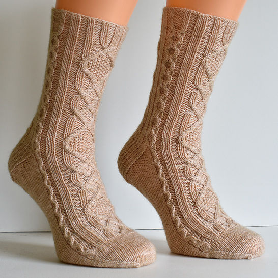 Cabled sock knitting pattern PDF - Hyggelig