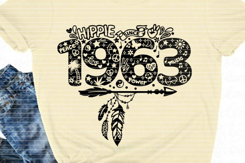 """Cutting file """"hippie since"""" for Ironing-picture SVG"""