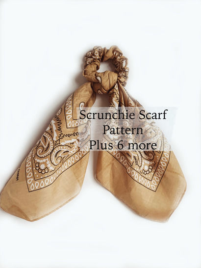 Scrunchie Sewing Pattern PDF including 7 different styles