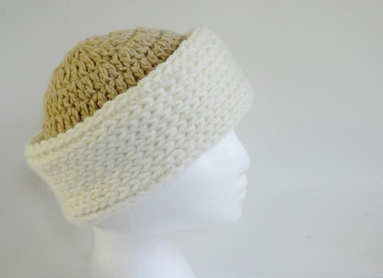 Easy Chunky Roll Brim Hat and Scarf #187