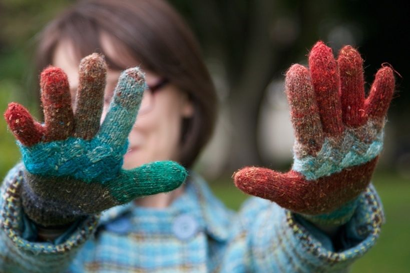 Woven Knuckles gloves - hand knitting pattern