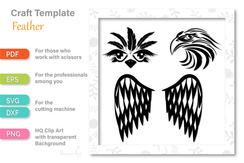 Ostrich, Eagle and Wings - Tattoos - Cutting File