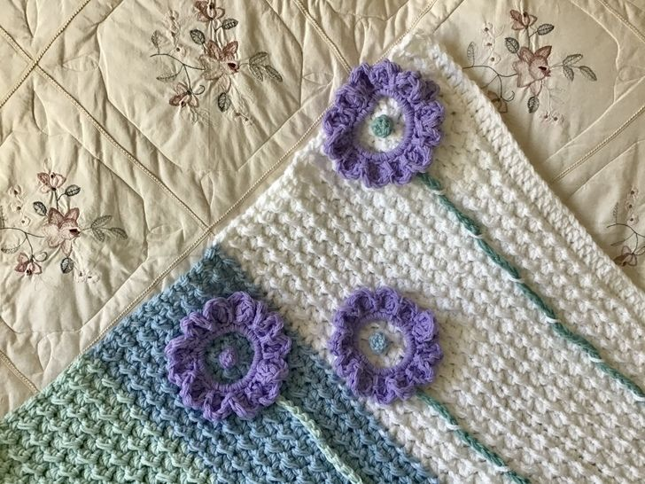 Lilac Sunflower Baby Blanket