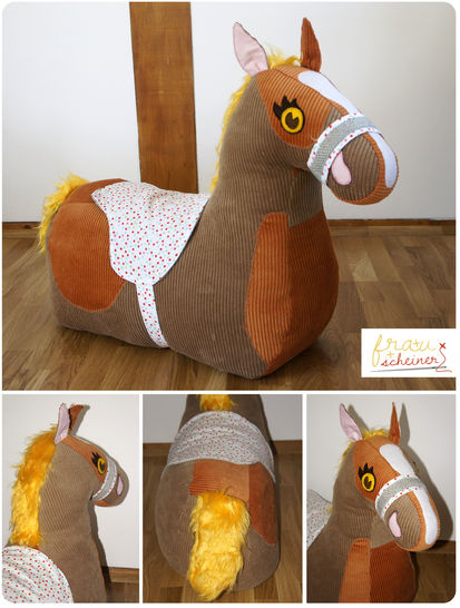 Ride-on plush horse pattern and instruction