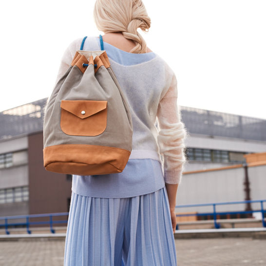 leather and canvas kitbag duffle bucket bag