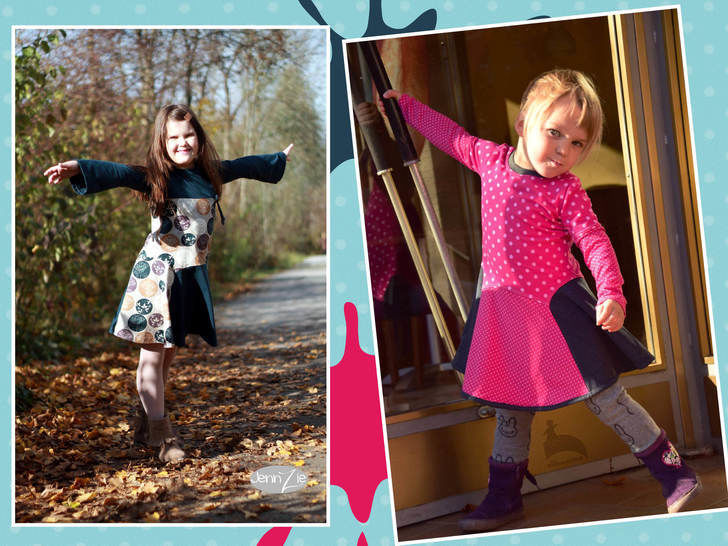PDF Sewing Pattern Girls Dress - Straight / Trumpet Sleeves *Bluebell*