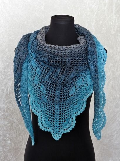 Crochet pattern triangle shawl, wrap Dance with Dolphins