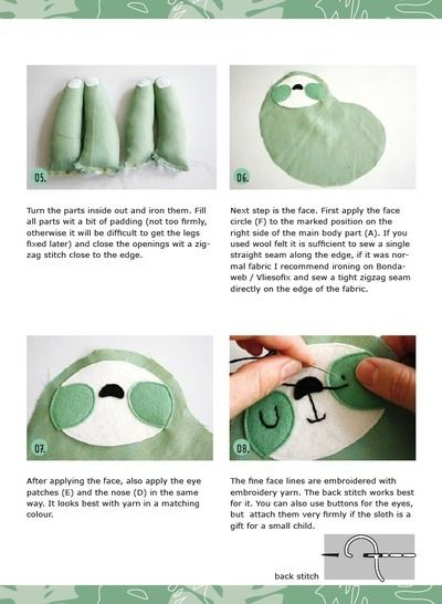 Sloth plushie, cuddly toy - sewing instructions