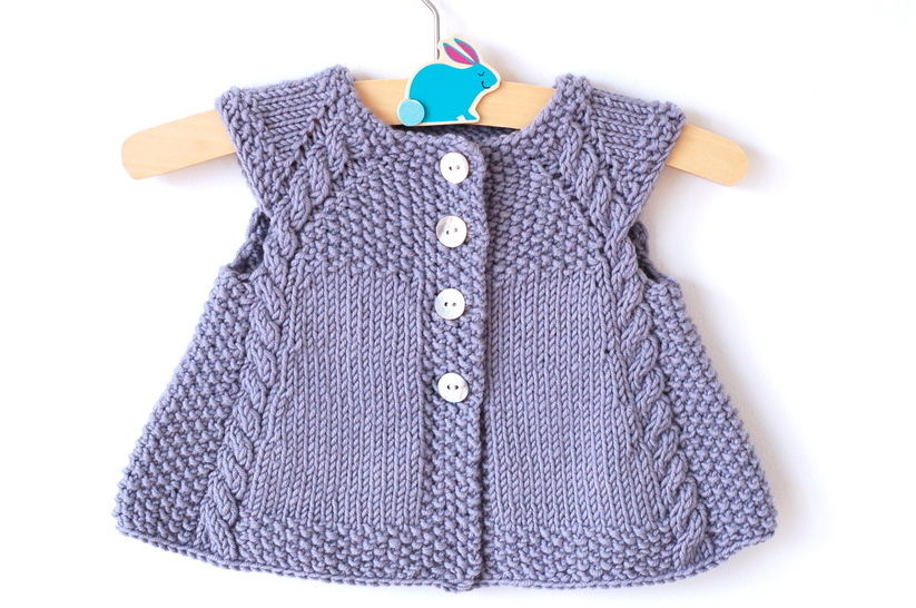 Powder Blue short sleeved girl cardigan - knitting pattern