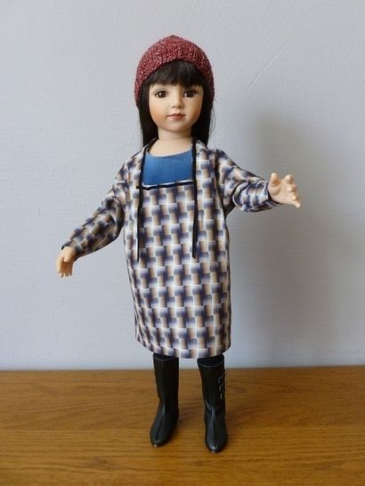 Black checked fabric…(pattern : 4 pieces for 18 inch doll, fit American Girl, We Girl, Maru and Friend, Bonnie and Pearl, Götz