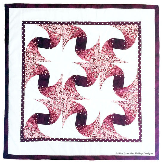 Baby quilt paper piecing pdf pattern and tutorial - Sunset blossoms