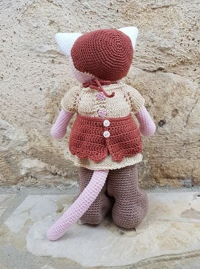 "Tutoriel de Rose, petit chat ""fille"" crochet et tricot"