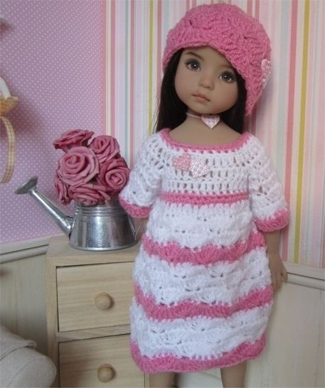 Small hearts : crochet outfit for Little Darling Effner Doll