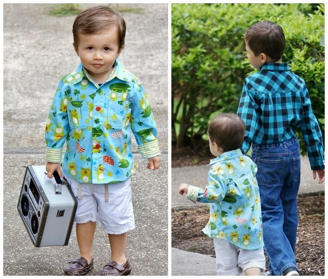 Classic Button up Shirt for Boys, PDF sewing Pattern with Video Tutorial