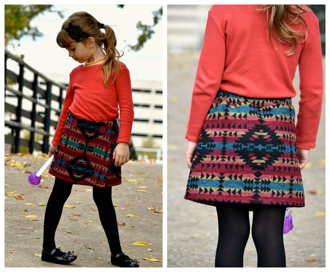 GIRLS SKIRT SEWING PATTERN, PDF SEWING PATTERN, BEGINNER, WRAP SKIRT SEWING PATTERN
