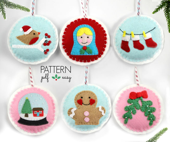 Felt Christmas Ornament Patterns, 24 Advent Ornament Pattern, DIY Christmas,