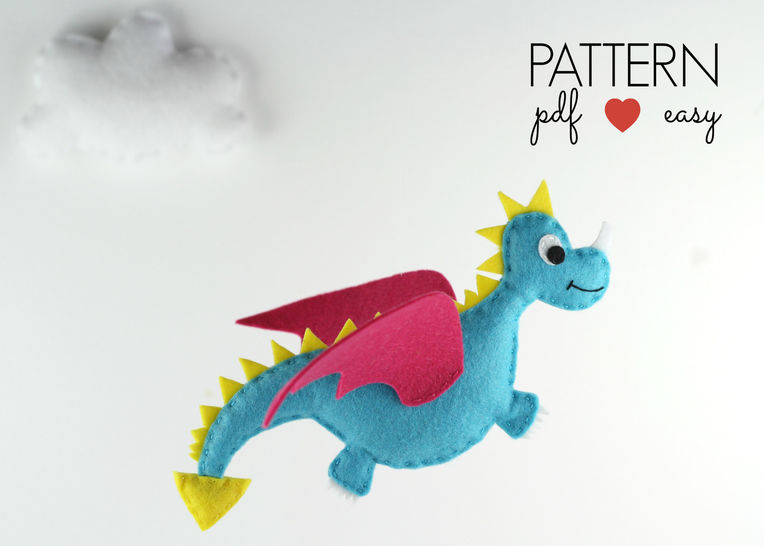 Dragon Sewing Pattern, Felt Dragon Plushie Pattern, Dragon Toy, Felt Dragon Pattern,