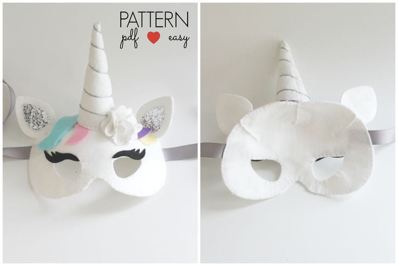 Unicorn Party Mask Pattern with Horn
