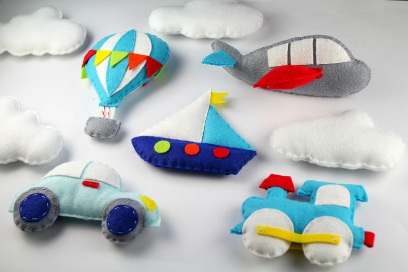 Transportation Pattern Set - Train, Car, Hot Air Balloon, Aeroplane, Boat Felt Sewing Pattern