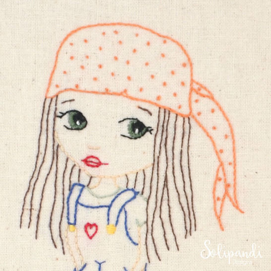 Hippie Girl in Dungarees with Love Heart, Hand Embroidery PDF Pattern