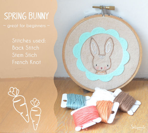 Spring Bunny - hand embroidery PDF pattern & instructions