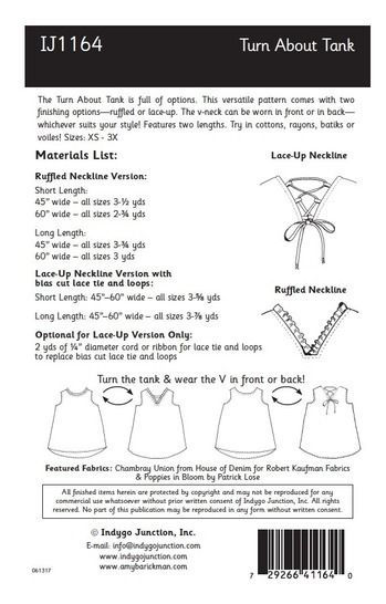 Turn About Tank Digital PDF Sewing Pattern - Four Ways to Wear! V-neck or circle, laces or ruffles.