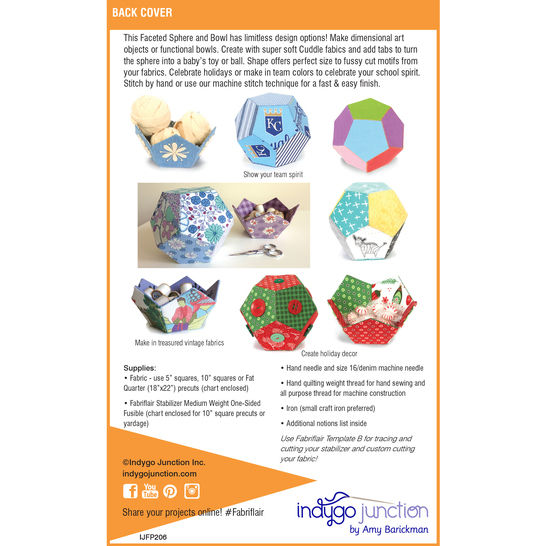 Fabriflair™ Faceted Spheres & Bowl Digital PDF Pattern - dimensional paper piecing project instructions