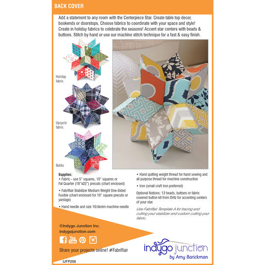 Fabriflair™ Centerpiece Stars Digital PDF Pattern - dimensional paper piecing project instructions