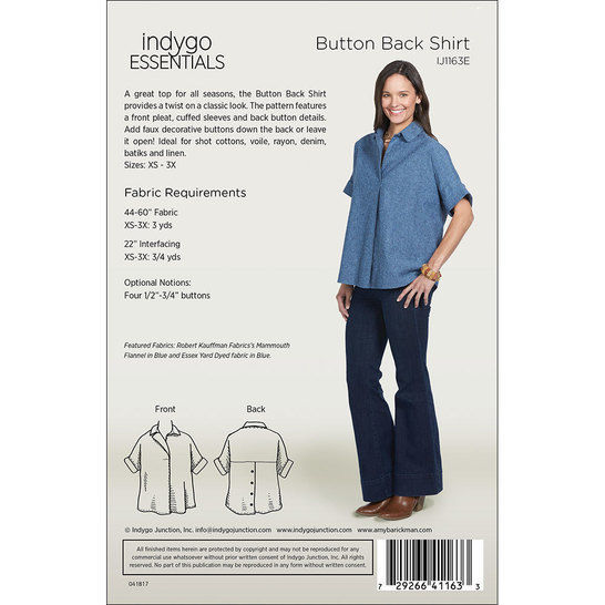 Indygo Essentials: Button Back Shirt Digital PDF Sewing Pattern - collared oversized shirt with a classic look Size SM - 3X