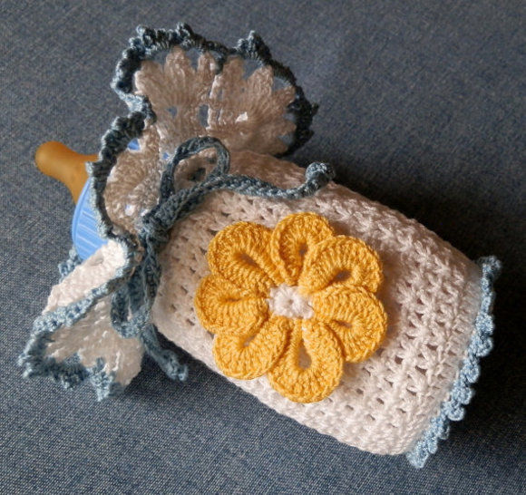 Baby Girl Lacy Topper w/Bonnet Shoes Bottle Cover Crochet Pattern