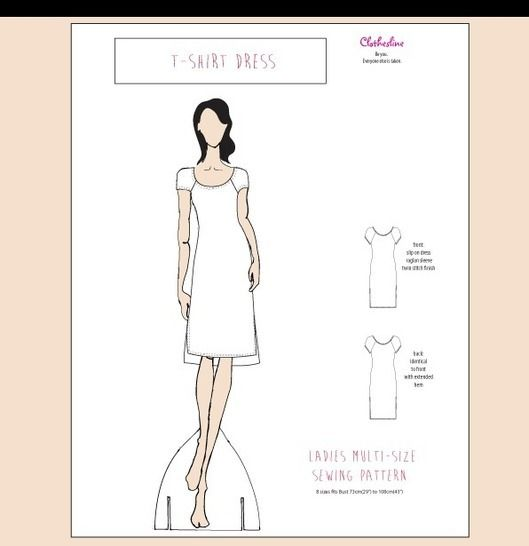 T Shirt Dress Easy to Sew Digital Sewing Pattern