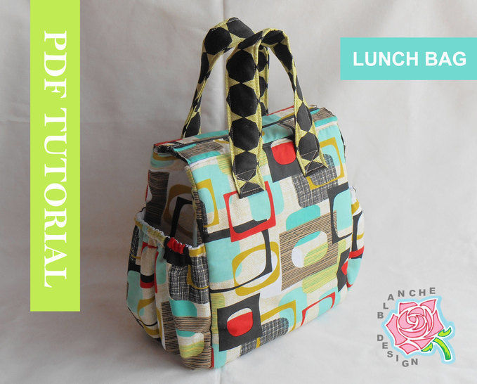 Insulated Lunch Tote Pattern with pattern pieces to print (UPDATED)