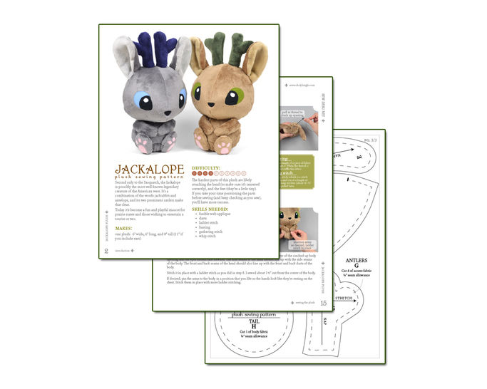 Jackalope Rabbit Plush Toy Sewing Pattern