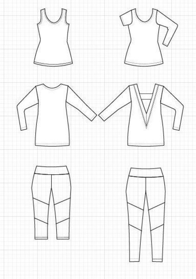 Cutout Cardigan, tank top and leggings: Printable PDF sewing pattern and step by step sewing tutorial, including sizes 4 to 22