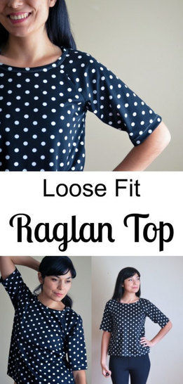 Loose fit Raglan, Dress and Jacket: Printable PDF Sewing Pattern in sizes 4 to 22, including an illustrated sewing tutorial