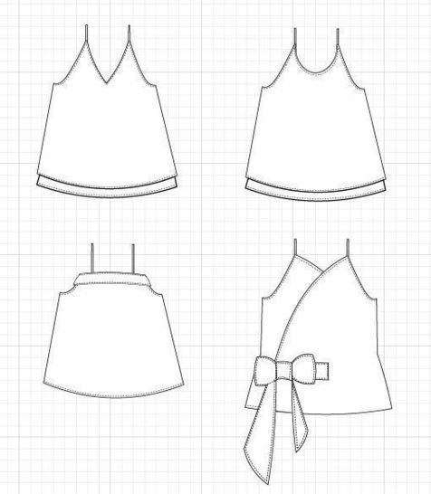 Camisole top and dress PDF sewing pattern and step by step sewing tutorial