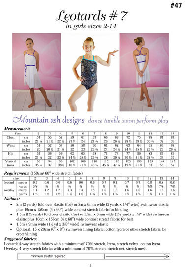 Leotards #7 Leotard and Dance Costume Sewing Pattern in Girls Sizes 2-14