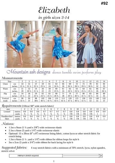Elizabeth Dance Costume and Leotard in Girls Sizes 2-14