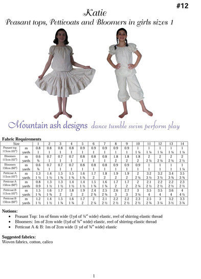 Katie Peasant Tops, Petticoats and Bloomers Sewing Pattern in Girls Sizes 1-14