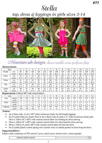 Stella Swing Top and Leggings Sewing Pattern in Girls Sizes 2-14