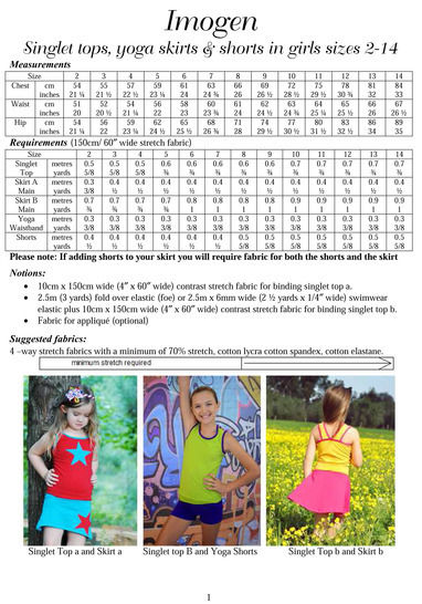 Imogen Tank, Skirt and Shorts Sewing Pattern in Girls Sizes 2-14