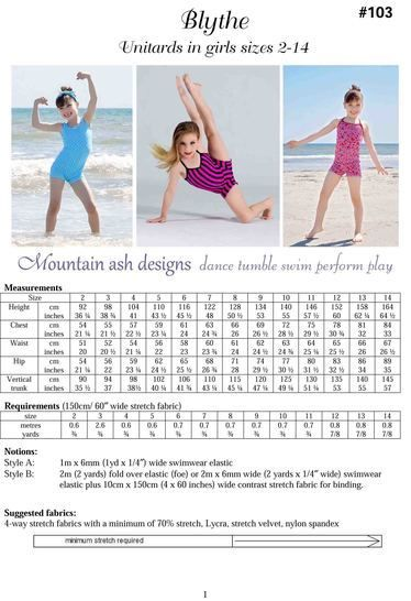 Blythe Vintage Swimsuit and Unitard Sewing Pattern in Girls Sizes 2-14