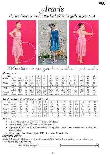 Aravis Leotard Dance Costume Pattern in Girls Sizes 2-14