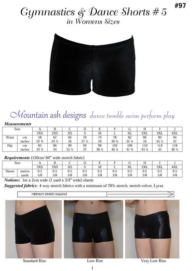 Gymnastics and Dance Shorts 5 Ladies Sewing Pattern