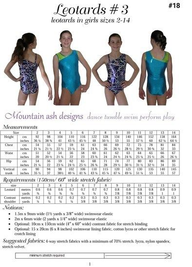 Leotards #3 Sewing Pattern in Girls Sizes 2-14