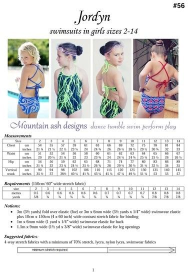 Jordyn Swimsuit and Leotard Sewing Pattern in Girls Sizes 2-14